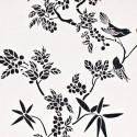 Papel vinílico pájaros sobre ramas en flor 59190116
